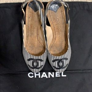 Chanel cork heel striped canvas shoe